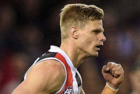 Nick Riewoldt of the Saints reacts after kicking a goal during the Round 22 AFL match between the St Kilda Saints and ...