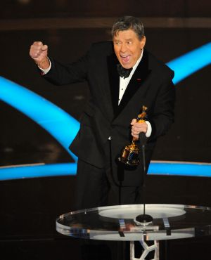 Jerry Lewis accepts the Jean Hersholt Humanitarian Award by the Board of Governors of the Academy of Motion Picture Arts ...