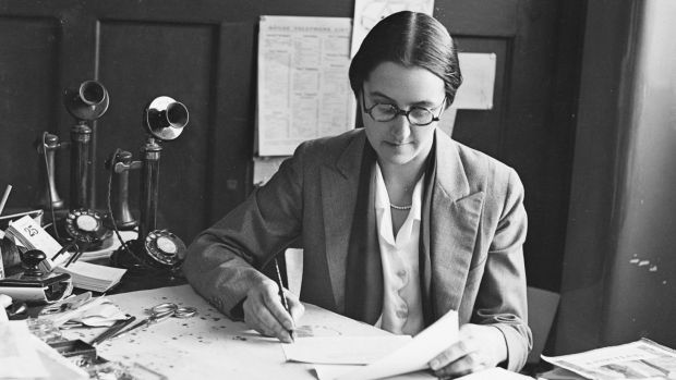 Editor of Women's Budget Constance Robertson aka Connie Robertson at her Herald desk in 1932.