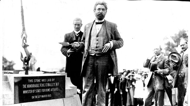 King O'Malley stands beside the foundation stone at the ceremony of the Federal Capital.