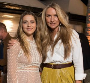 Fashion designer Collette Dinnigan (R) with actor Teresa Palmer at the dinner she hosted as part of Audi Hamilton Island ...