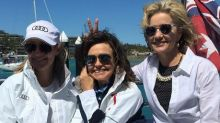 From left, Channel Seven's Mel Doyle, Nine's Lisa Wilkinson and Channel Ten's Sandra Sully at Audi Hamilton Island Race ...