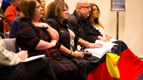 Representatives from the local Indigenous community at the public forum to discuss the decision by Darebin Council to ...