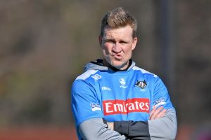 No decision yet: Nathan Buckley's future as Collingwood coach remains up in the air.