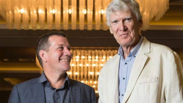 Rhys Muldoon and David Williamson at the launch of Queensland Theatre's 2018 season.