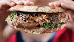 Steak sandwich. Brigitte Hafner recipes for Epicure. Photographed by Marina Oliphant. Imaging, please do not sharpen in ...