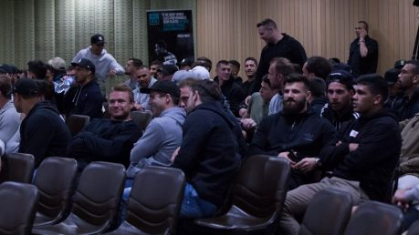 NRL players are seen ahead of a Rugby League Players Association (RLPA) mass player meeting at the SMC Conference and ...