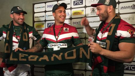 Represent: Tim Mannah, Michael Lichaa and Robbie Farah at the media session for the Lebanon World Cup team.
