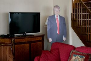 A cardboard cutout of President Donald Trump in his childhood home in Queens.