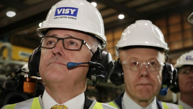 Prime Minister Malcolm Turnbull  with Visy executive chairman Anthony Pratt at a Visy plant near Tumut. Visy and Amcor ...