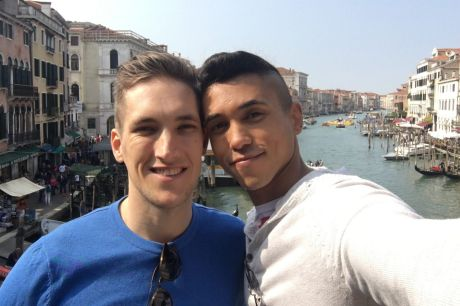 """Nothing comes above my relationship with Miguel"": Rob Nay, left, with his partner Miguel Luciano."