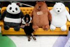 A Chinese woman browses a smartphone on a sofa displaying a panda and bears at a shopping mall in Beijing, Monday, Aug. ...