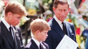 Princess Diana Funeral 6 September 1997 Coffin leaves Westminster Abbey in hearse with Prince Charles Prince Harry ...