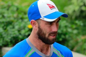 Feeling the heat: Glenn Maxwell at a practice session in Dhaka.