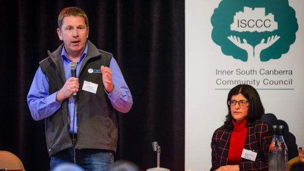 Capital Recycling Solutions director Adam Perry and Inner South Canberra Community Council (ISCCC) chair Marea Fatseas ...