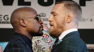 Face-off: Floyd Mayweather, left, and Conor McGregor at a news conference in Las Vegas on Wednesday.
