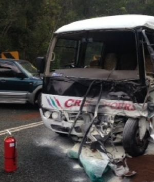 Emergency services are at the scene of a minibus and 4WD at Advancetown, in the Gold Coast hinterland.