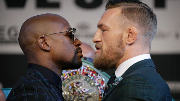 Floyd Mayweather (left)  and Conor McGregor pose better than actual models.