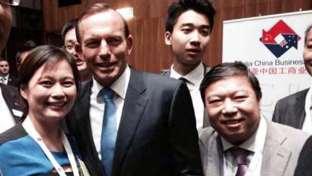 Teddy Junus, on right, pictured with Tony Abbott at another Chinese-Australian business networking event.