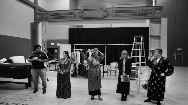 The cast of A Night with Opera Queensland Show in rehearsal. From left: Rosario La Spina, Victoria Lambourn, Emily ...