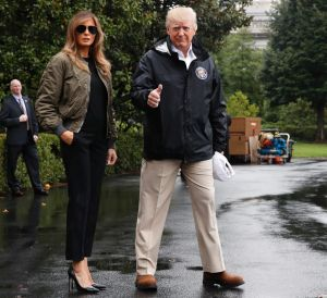 Social media was critical of Melania's choice of footwear.