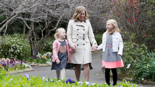 Sarah Weir with her daughters, Evie, 6, and her sister, Alicia, 8.