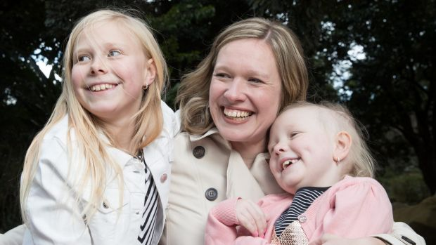 Sarah Weir with her daughters, Evie, right, and Alicia.