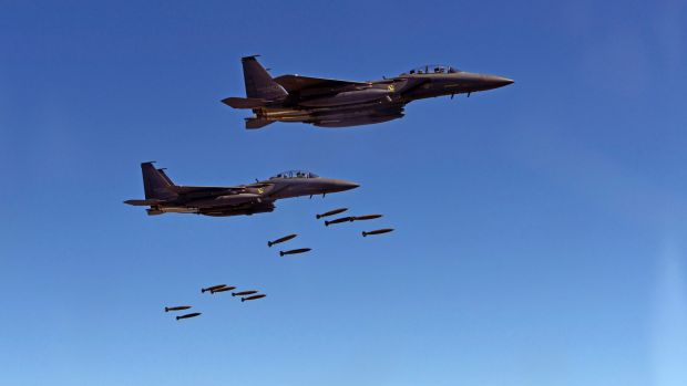 South Korean F-15 fighter jets drop bombs over the Korean Peninsula. On Thursday four US stealth fighter jets joined ...