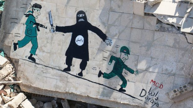 A mural in the besieged Syrian city of Daraya accuses Syrian government troops (right) of fleeing in the face of ...