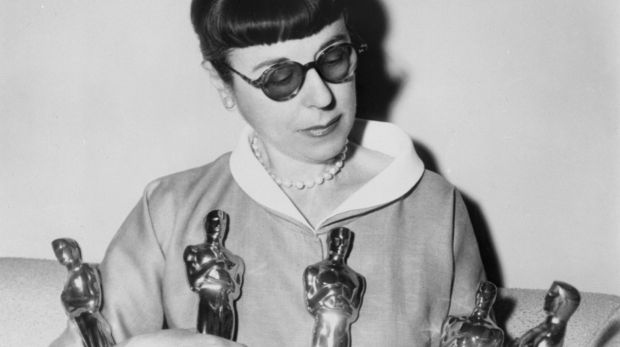 Edith Head with five of her eight Academy Awards.