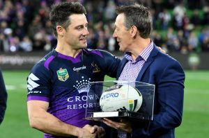 Storm coach Craig Bellamy with Cooper Cronk during the 2017 season, his last playing for Melbourne.