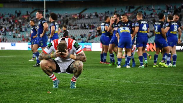Down and out: Josh Dugan reacts after the loss to Bulldogs.