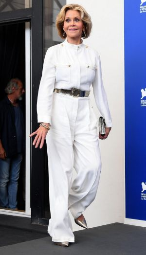 Actress Jane Fonda arrives for the photo call for the film Our Souls At Night at the 74th Venice Film Festival in ...