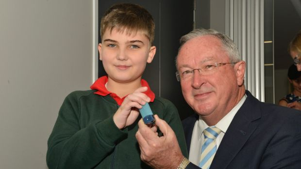Asthma patient Noah with NSW Health Minister Brad Hazzard at Sydney Childrens Hospital on Monday.