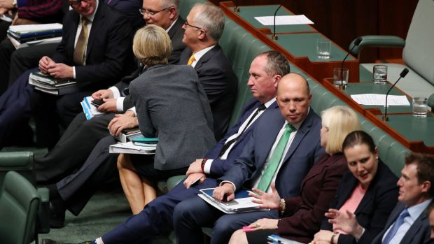 Deputy Prime Minister Barnaby Joyce during a procedural vote during question time on Monday.