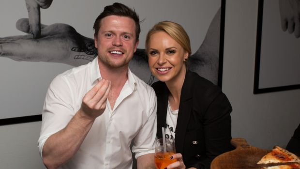 Channel 9 presenter Julie Snook and The Wrong Girl actor Hugo Johnstone-Burt at a dinner at Society Di Catania, Potts ...