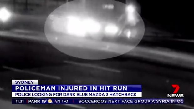 Video footage shows the moment the officer was struck.