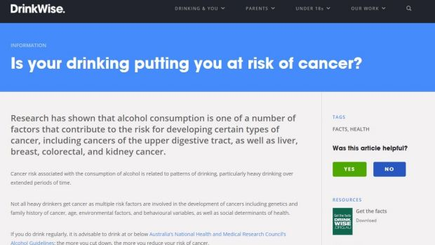 A page from the DrinkWise website.