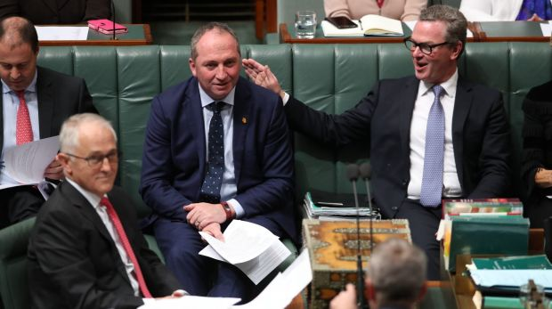 Deputy Prime Minister Barnaby Joyce and Defence Industries Minister Christopher Pyne in question time on Wednesday.
