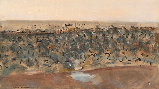 Pond in the You Yangs, 1962, watercolour, gouache, charcoal and coloured pencil (detail).