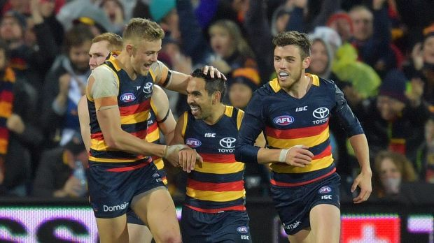There was plenty to celebrate for Eddie Betts and the Crows at Adelaide oval.