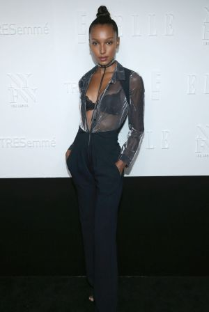 Model Jasmine Tookes attends the ELLE, E! and IMG New York Fashion Week kick-off party.