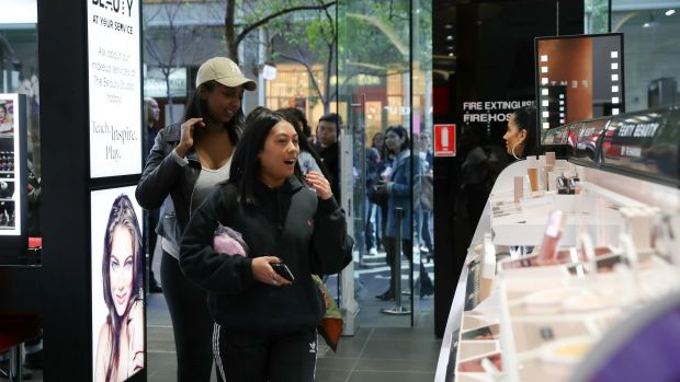 Amalia Izhar and Dina Moss were first in the door at the launch of Fenty Beauty by Rihanna at Sephora, Pitt Street.