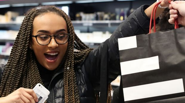 Vera Cheffers, 20, the first in the world to buy Fenty Beauty at Sephora Chadstone, Melbourne, on Friday morning.