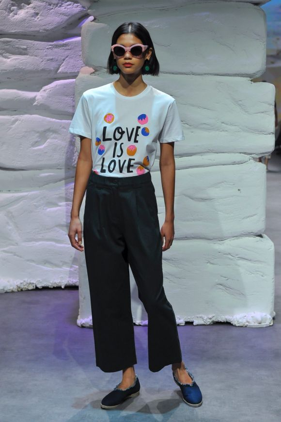 Wednesday: Gorman wore its heart on its chest with a 'love is love' T-shirt, while on Tuesday, a bridal sequence at the ...