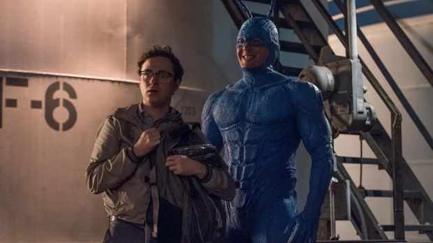 Arthur (Griffin Newman) and The Tick (Peter Serafinowicz) in Amazon's new superhero parody.