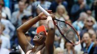 Sloane Stephens, of the United States, reacts after beating Madison Keys, of the United States, in the women's singles ...