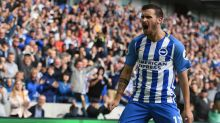 Brighton & Hove Albion's Pascal Gross celebrates scoring against West Bromwich Albion during the English Premier League ...