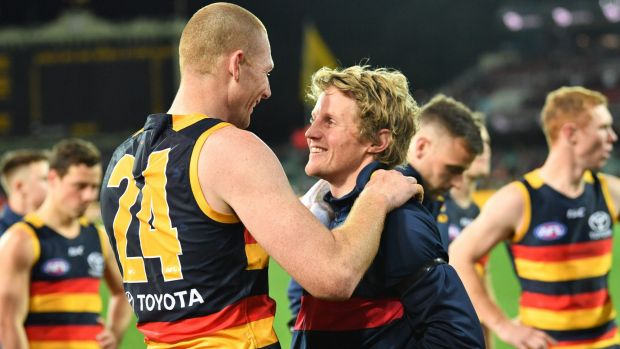 The likely return of Rory Sloane (right) will be a boost for the Crows.