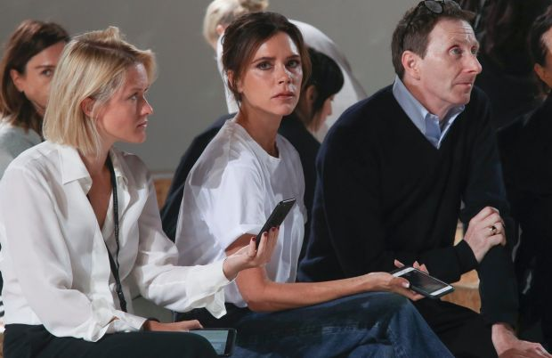 Victoria Beckham, center, watches the rehearsal of her Spring/Summer 2018 fashion show during New York Fashion Week.